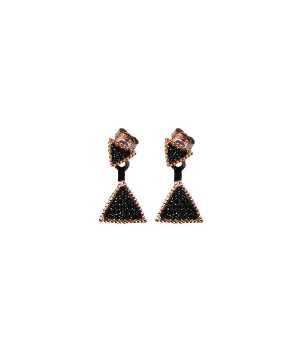 Triangle Earrings, Black Stone