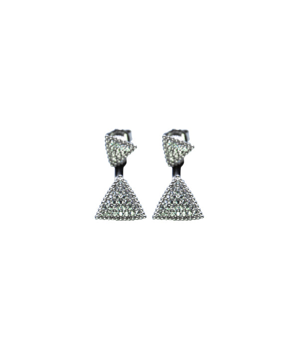 Begna Triangle Earrings, White Stone