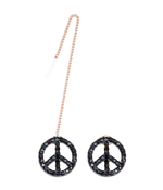 Peace Earrings, Black Stone