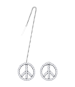 Peace Earrings, White Stone