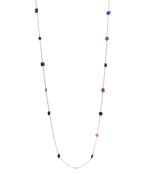 Star Fall Necklace With Natural Stone