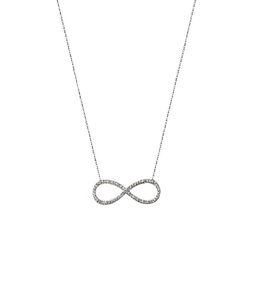 Infinity Necklace, White Stone