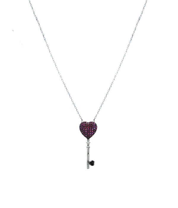Love Key Necklace, Deep Rose