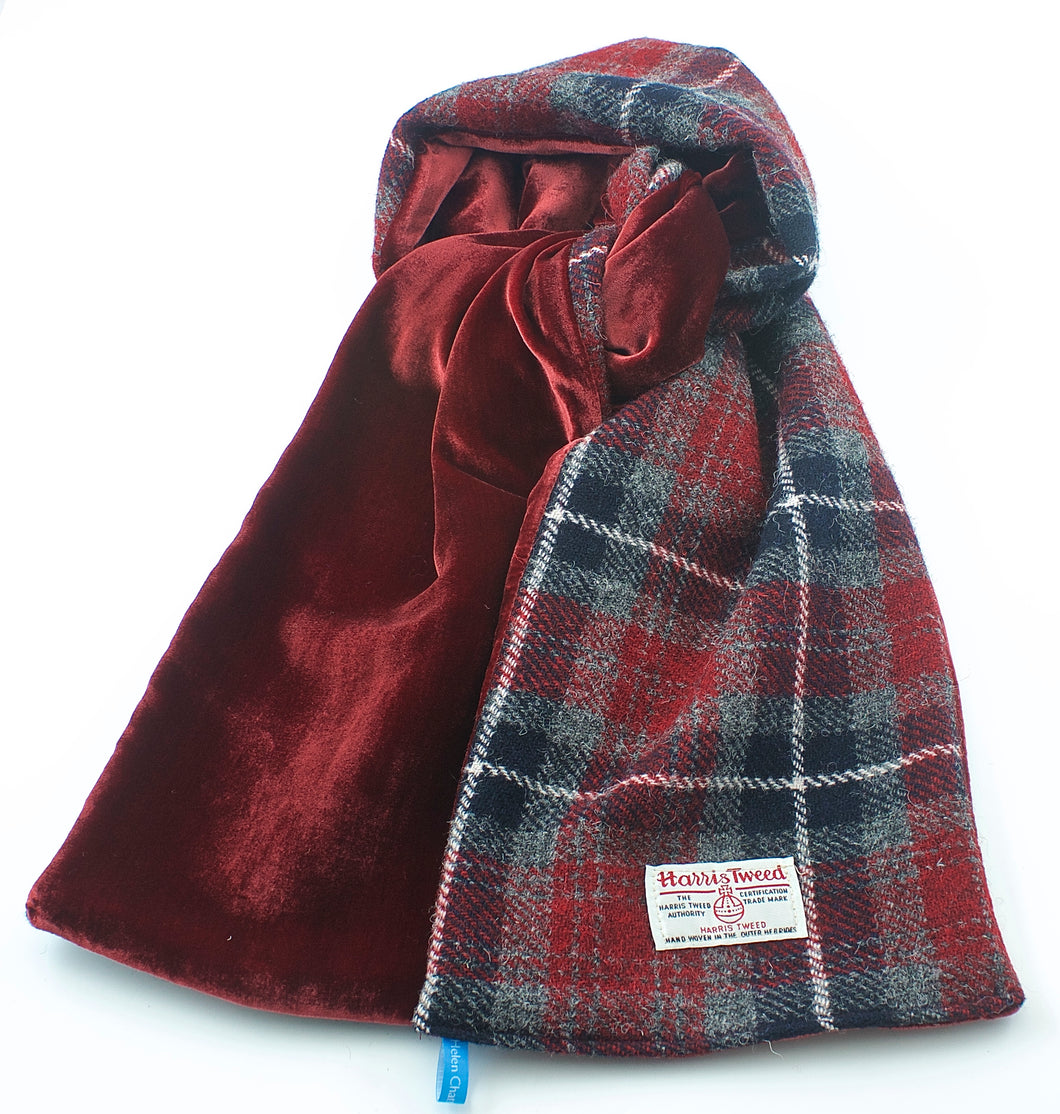 Dark Red Grey Plaid