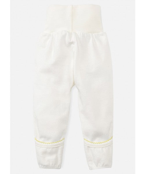 Newborn High Waist Cotton Pants - Yellow