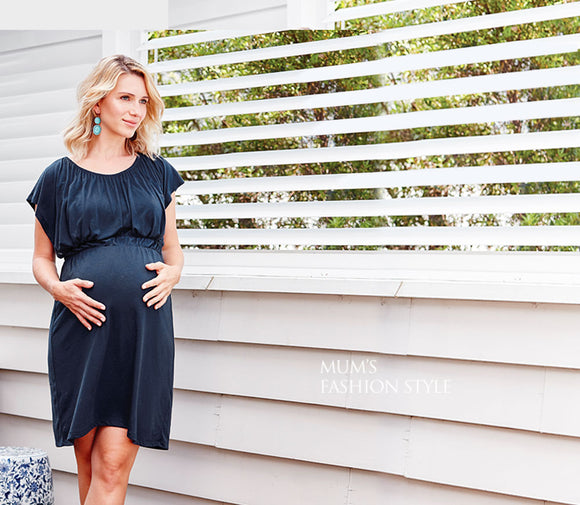 1621N Gathered Maternity and Nursing Tea Dress -NAVY