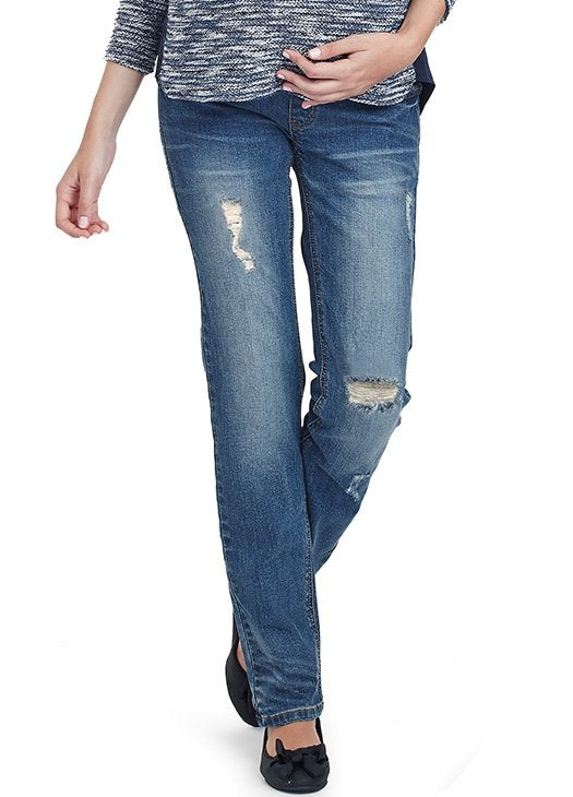 Straight Leg Stone Wash Maternity Jeans