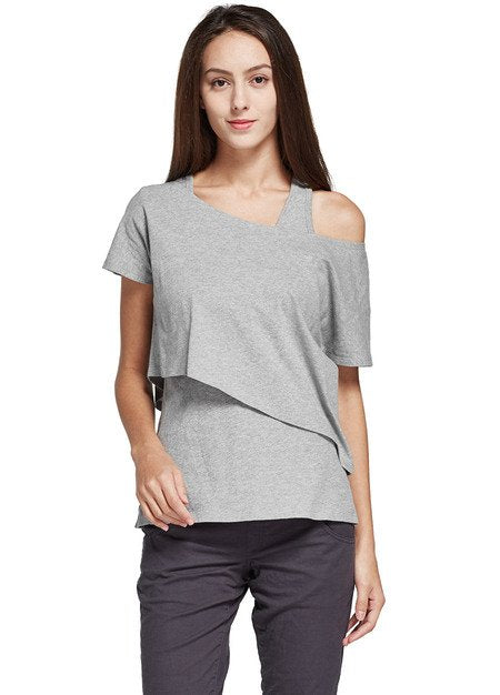 171006 (Gray)  Asymmetrical Maternity and Nursing Top