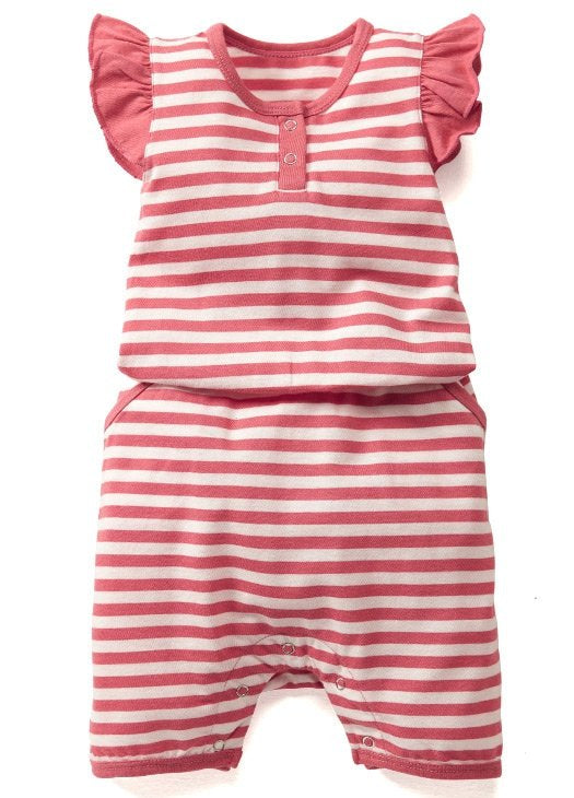 Orange Striped Summer Baby Romper