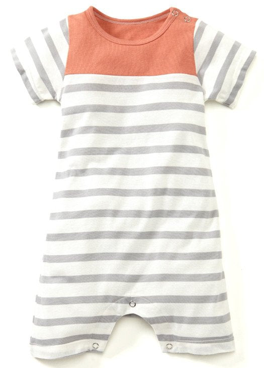 Dark Orange Sailor Stripes Baby Bodysuit