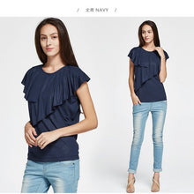 Load image into Gallery viewer, 171017 (Navy) Lotus Collar Maternity and Nursing Top
