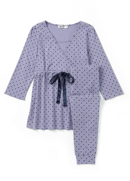181709P (Purple) Dainty Dots Maternity & Nursing Pajama