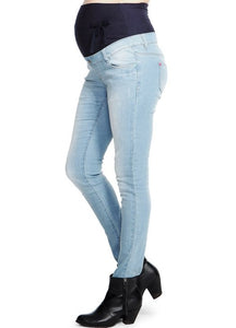 13532 (BLUE) Super Soft Stretch Skinny Leg Maternity Jeans
