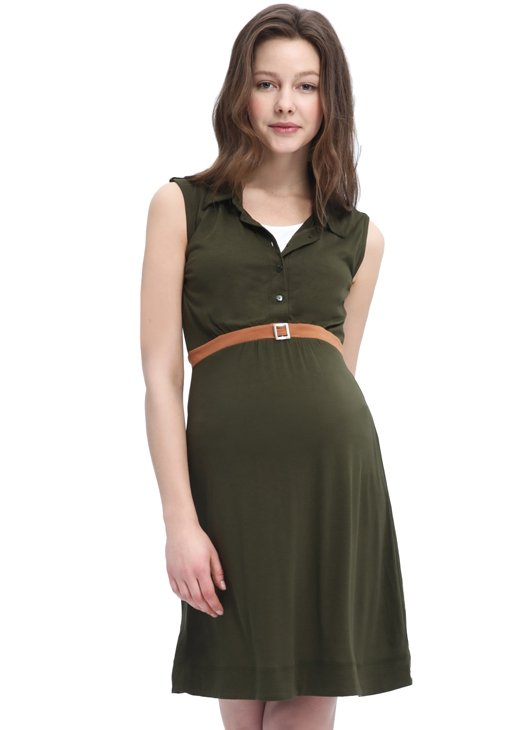Sleeveless Maternity/ Nursing Dress with Belt
