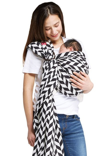 170963 Black & White Herringbone Baby Ring Sling