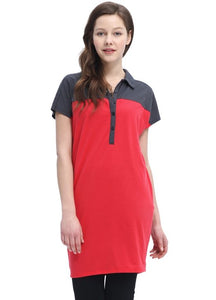 1521ZO Maternity & Nursing Polo Long Top
