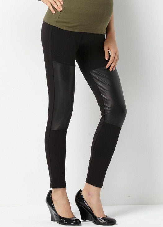 11529X Faux Leather Maternity Leggings