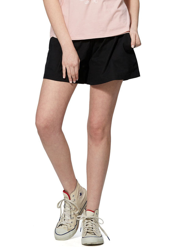 181504X Black Maternity Bamboo Cotton Shorts