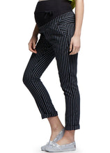 Load image into Gallery viewer, 16512X (Black) Ankle Biter Pin Striped Maternity Pants