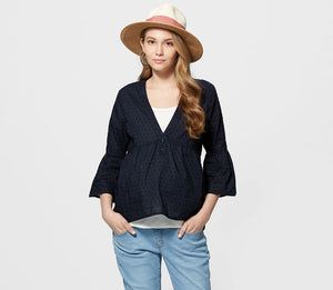 Ruffle Shoulder Top with Maternity & Nursing Vest