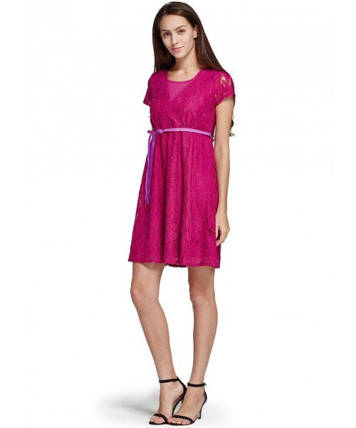 171011P Lace Cross-over Maternity & Nursing Dress