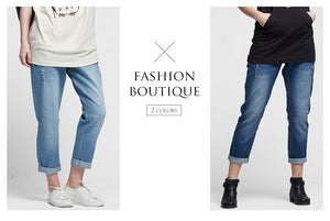 16530 (BLUE)  Maternity Boyfriend Jeans in Distressed