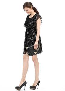 1326 (BLACK) - Maternity & Nursing Bird Print Chiffon Dress