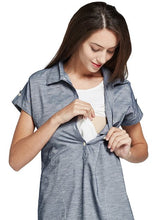 Load image into Gallery viewer, 171022 (Blue/ White) Jersey Button-up Maternity