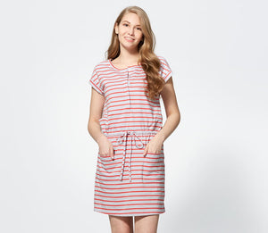 Stripe Tie Waist Maternity & Nursing Dress