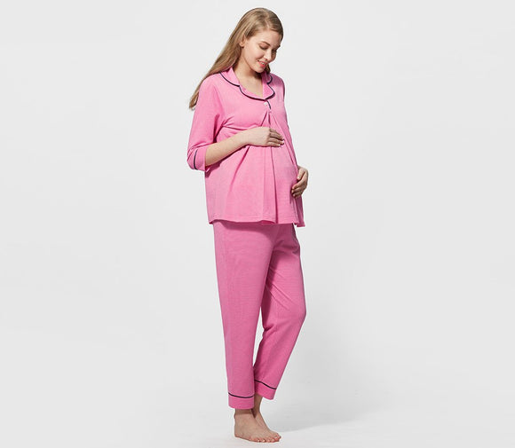 181786D Dotted Maternity & Nursing Shirt Pajama Set