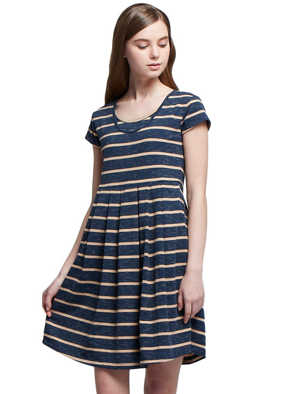 1605BC Stripes Maternity & Nursing Tea Dress