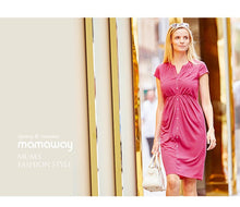 Load image into Gallery viewer, 1611DB (Fuchsia/ Blue) Jersey Swift Maternity & Nursing Dress