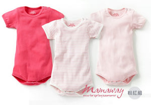 Pink Mamaway Ribbed Short Sleeves Baby Bodysuit(3-Piece
