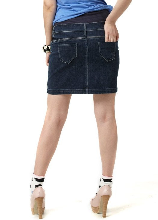 19251109a7a95 ... Load image into Gallery viewer, Denim Maternity Skirt in Dark Wash ...