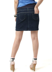 13510 Denim Maternity Skirt in Dark Wash