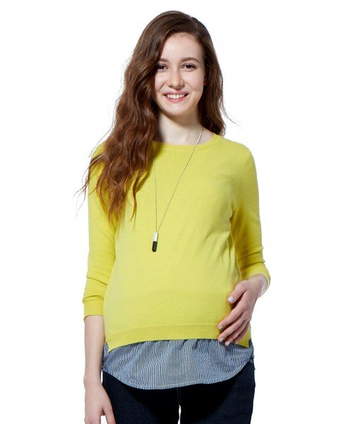 162083 (Yellow) Jersey Maternity & Nursing Set with Back Button Detail