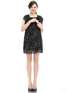 Maternity & Nursing Bird Print Chiffon Dress