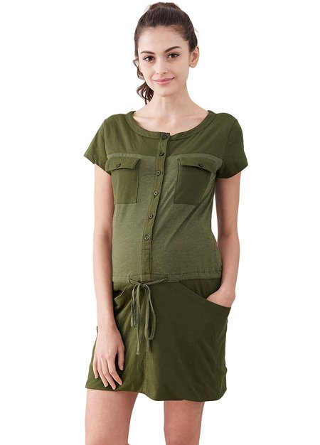 1639G Splice Button Up Maternity & Nursing Dress