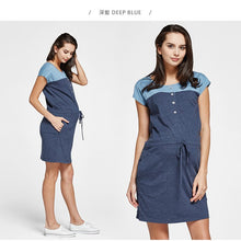 Load image into Gallery viewer, 171013 (Deep Blue) Color Block Shift  Maternity and Nursing Dress with Tie