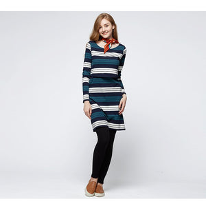 172065NG (Navy/ Green) Stripe Double Layer Maternity & Nursing Dress