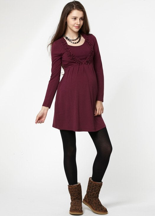 Ruffled V-Neck Breastfeeding Dress