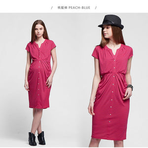 1611DB (Fuchsia/ Blue) Jersey Swift Maternity & Nursing Dress