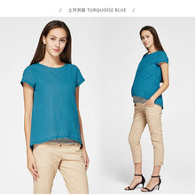 Load image into Gallery viewer, 171014 (Turquoise Blue)  Round Neck Essentials 2 Piece Maternity & Nursing Tee