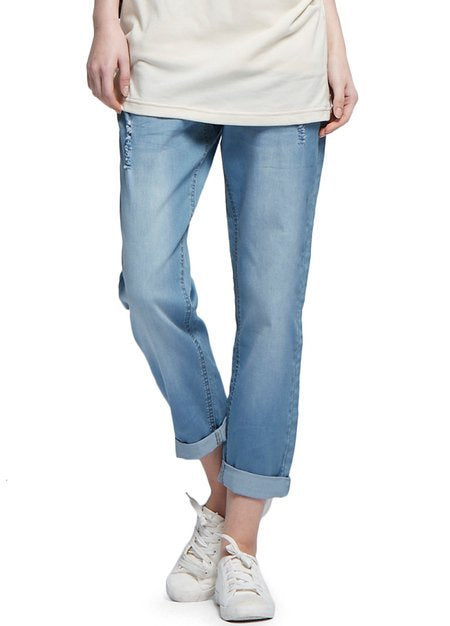 Maternity Boyfriend Jeans in Distressed Wash