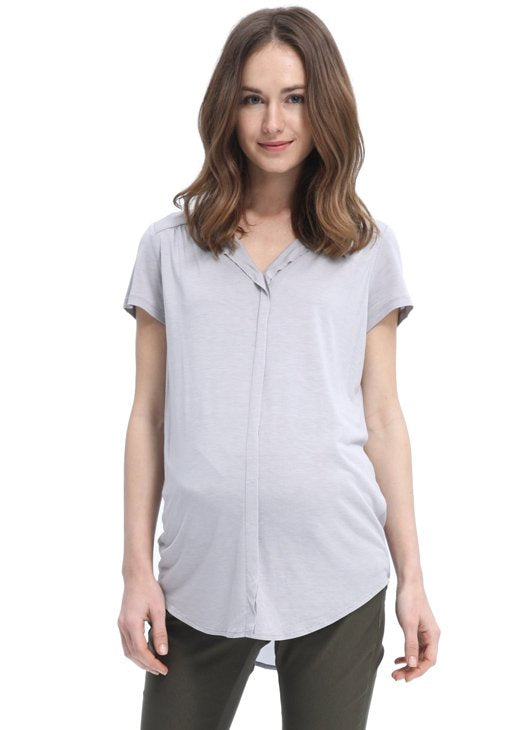 V Neck Maternity & Nursing Blouse with Drape Detail