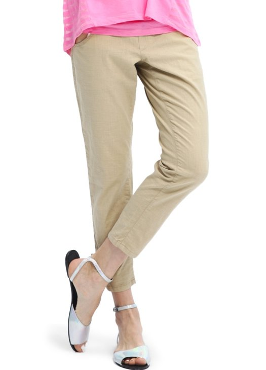 Cropped Maternity Pants with Button