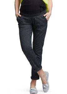 Ankle Biter Pin Striped Maternity Pants (Black)