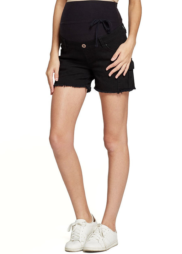 Stone Wash Maternity Shorts With Side Pockets