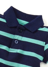 Load image into Gallery viewer, 13710 (Blue/ Green)  Polo Striped Baby Bodysuit