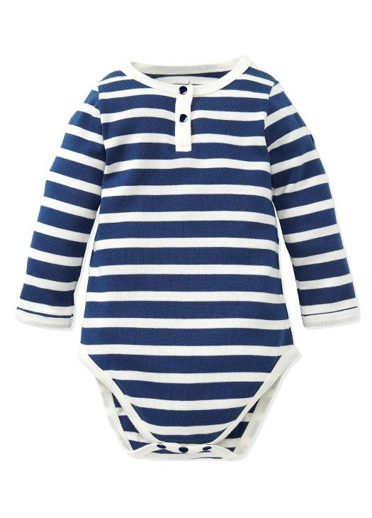 Stripey Henley Collar Baby Suit